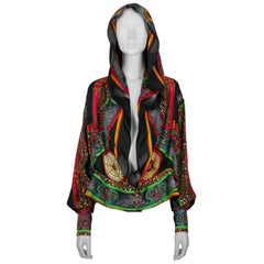 Hermes Vintage Feux d'Artifice 150th Anniversary Silk Hooded Blouse
