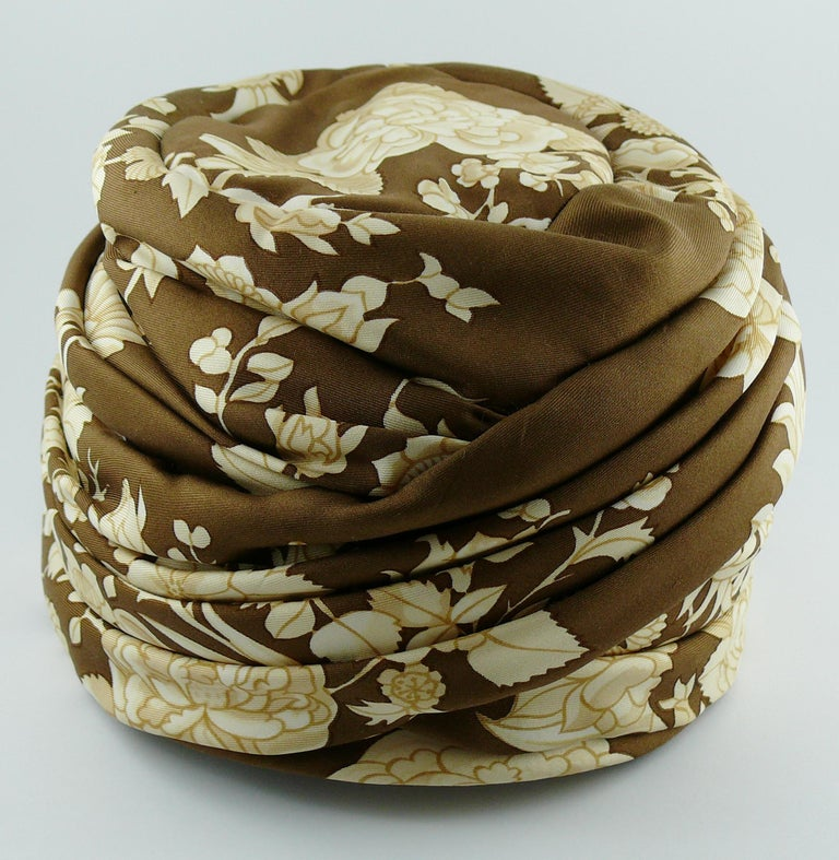 Brown Hermes Vintage Flowers and Birds Silk Turban Hat  For Sale