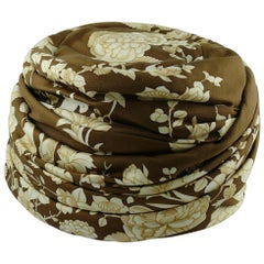 Hermes Vintage Flowers and Birds Silk Turban Hat