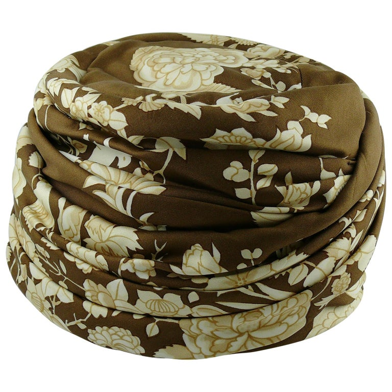 Hermes Vintage Flowers and Birds Silk Turban Hat  For Sale
