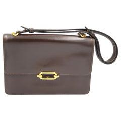 Hermes Vintage  Fonsbelle Brown Box Leather Bag