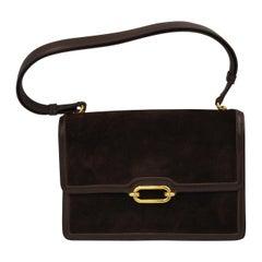 Hermes Vintage  Fonsbelle Brown Box Leather and Suede Bag