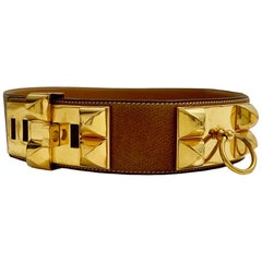 HERMES Vintage Gold Dog Necklace Belt