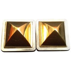 Hermès Vintage Golden and Silver Metallic Clip-On Medor Earrings