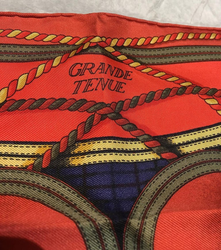 Hermes Vintage Grand Tenues Silk Pocket Square In Excellent Condition For Sale In Philadelphia, PA