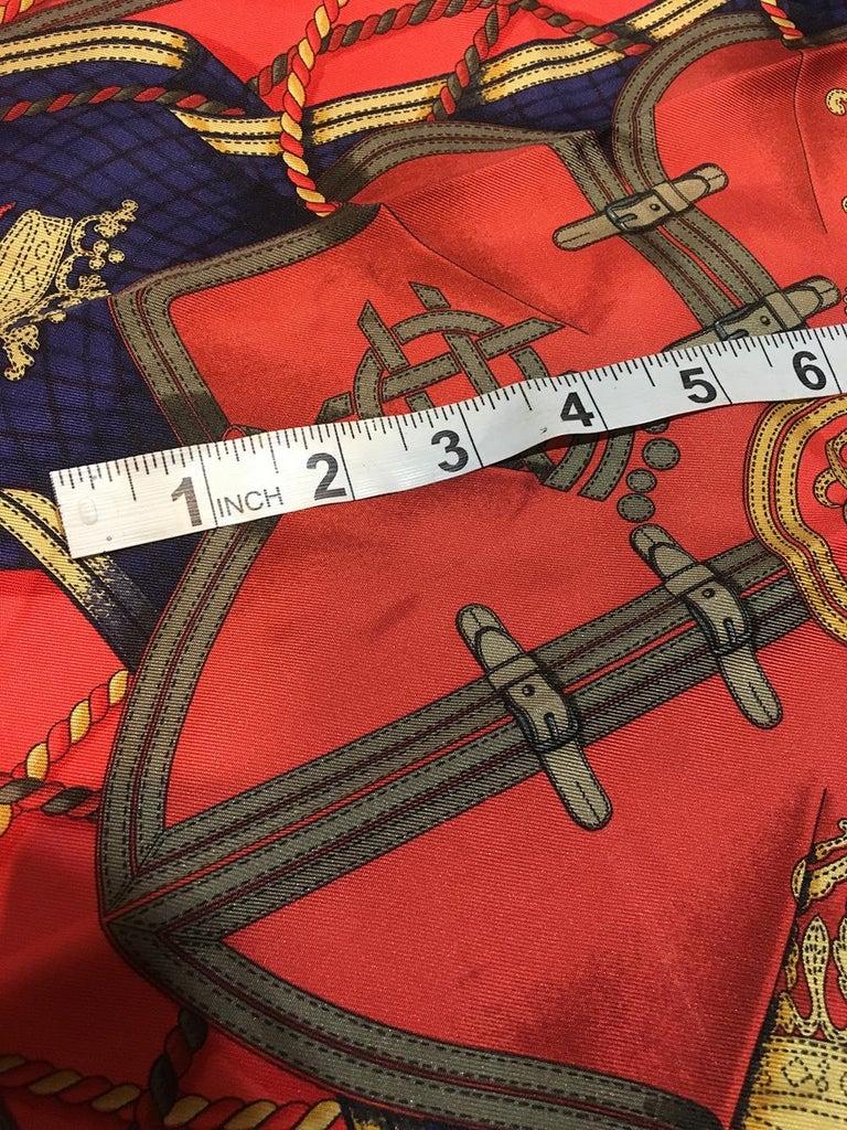Women's or Men's Hermes Vintage Grand Tenues Silk Pocket Square For Sale