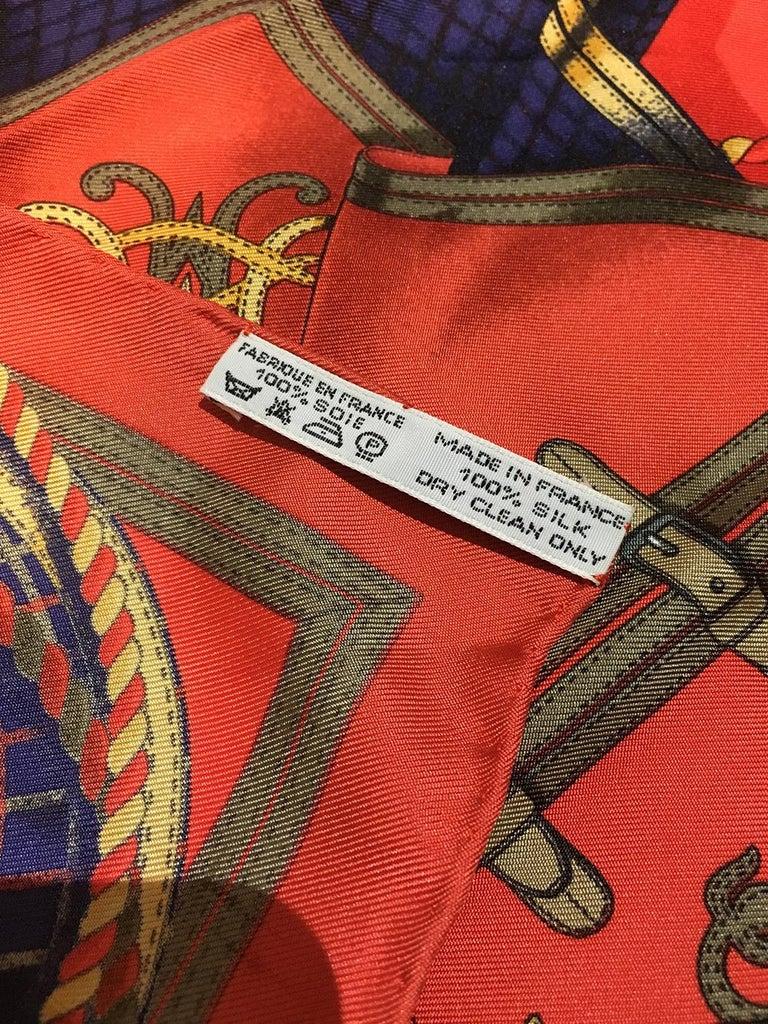 Hermes Vintage Grand Tenues Silk Pocket Square For Sale 2