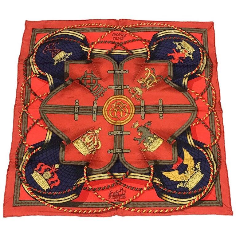 Hermes Vintage Grand Tenues Silk Pocket Square For Sale
