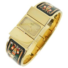 Hermes Ladies Gold Plated Green Enamel Vintage Loquet Wristwatch, Circa 1991