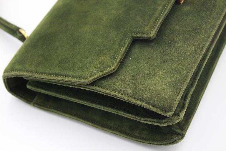 Black Hermes Vintage  Grille Green Suede and Leather 60's Bag For Sale