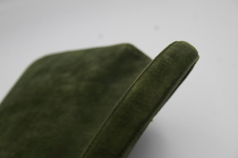 Hermes Vintage  Grille Green Suede and Leather 60's Bag In Good Condition For Sale In Paris, FR