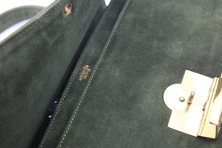 Women's or Men's Hermes Vintage  Grille Green Suede and Leather 60's Bag For Sale