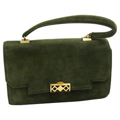 Hermes Vintage  Grille Green Suede and Leather 60's Bag
