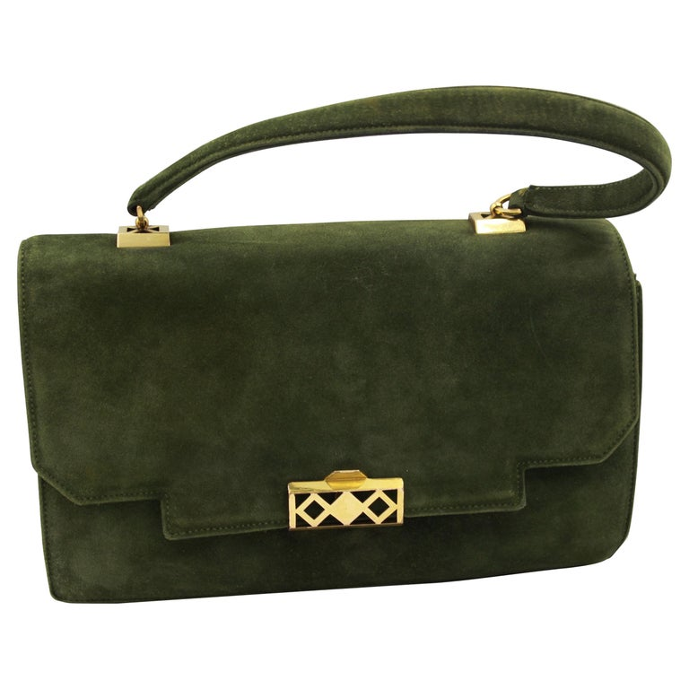 Hermes Vintage  Grille Green Suede and Leather 60's Bag For Sale