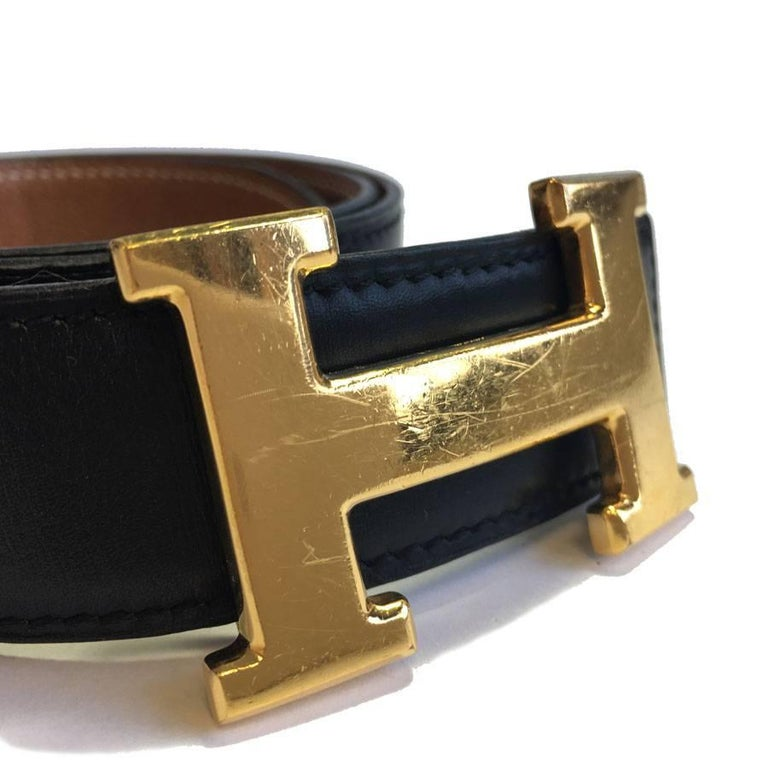 Women's HERMES Vintage H Belt in Black Box Leather and Brown Courchevel Leather Size 70 For Sale