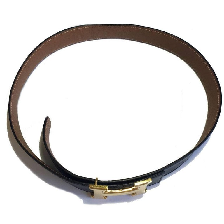 HERMES Vintage H Belt in Black Box Leather and Brown Courchevel Leather Size 70 For Sale 1