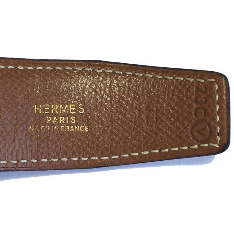 HERMES Vintage H Belt in Black Box Leather and Brown Courchevel Leather Size 70 For Sale 3