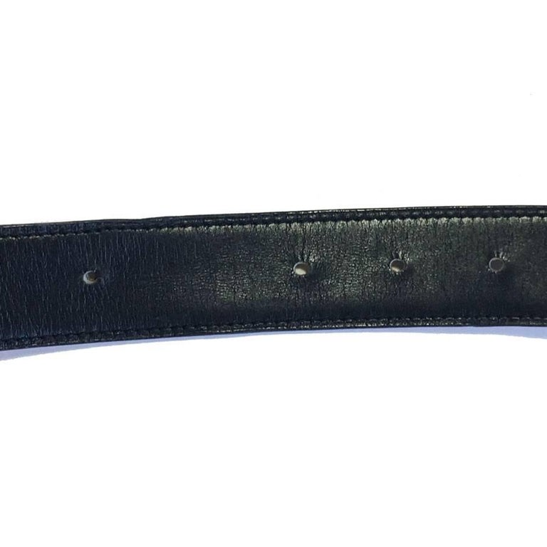 HERMES Vintage H Belt in Black Box Leather and Brown Courchevel Leather Size 70 For Sale 4