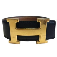 HERMES Vintage H Belt in Black Box Leather and Brown Courchevel Leather Size 70
