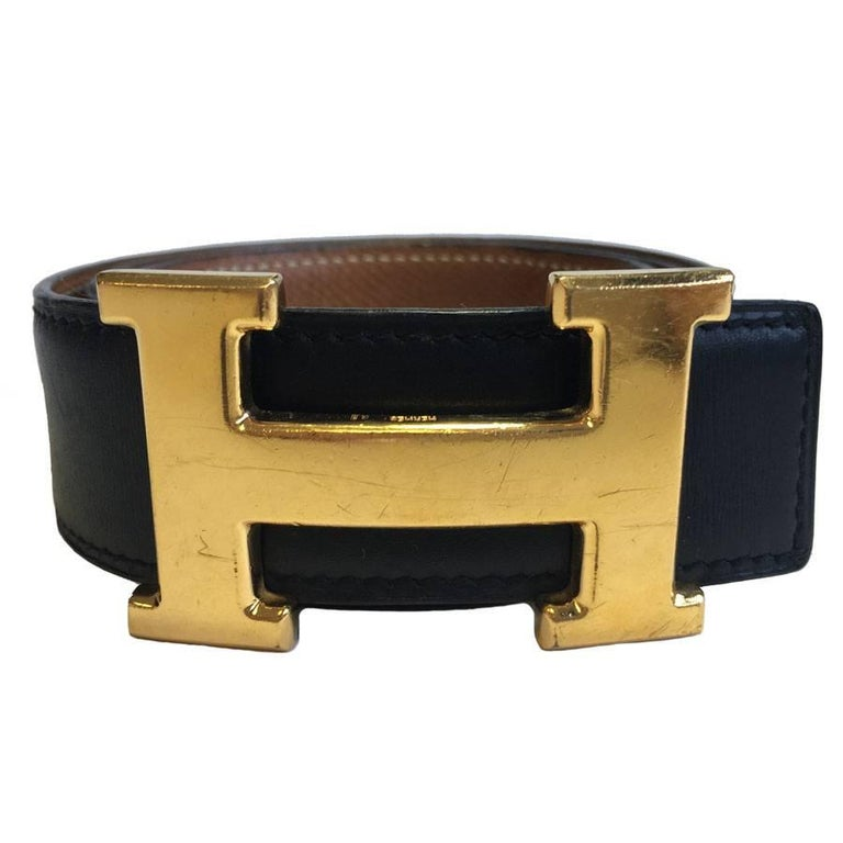 HERMES Vintage H Belt in Black Box Leather and Brown Courchevel Leather Size 70 For Sale