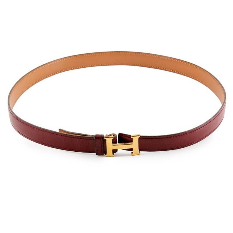 Brown HERMES Vintage H Buckle For Sale