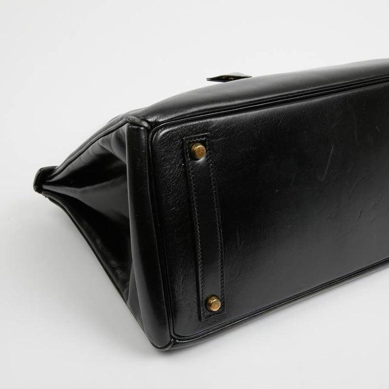 Black HERMES Vintage HAC 32 Leather Box Bag