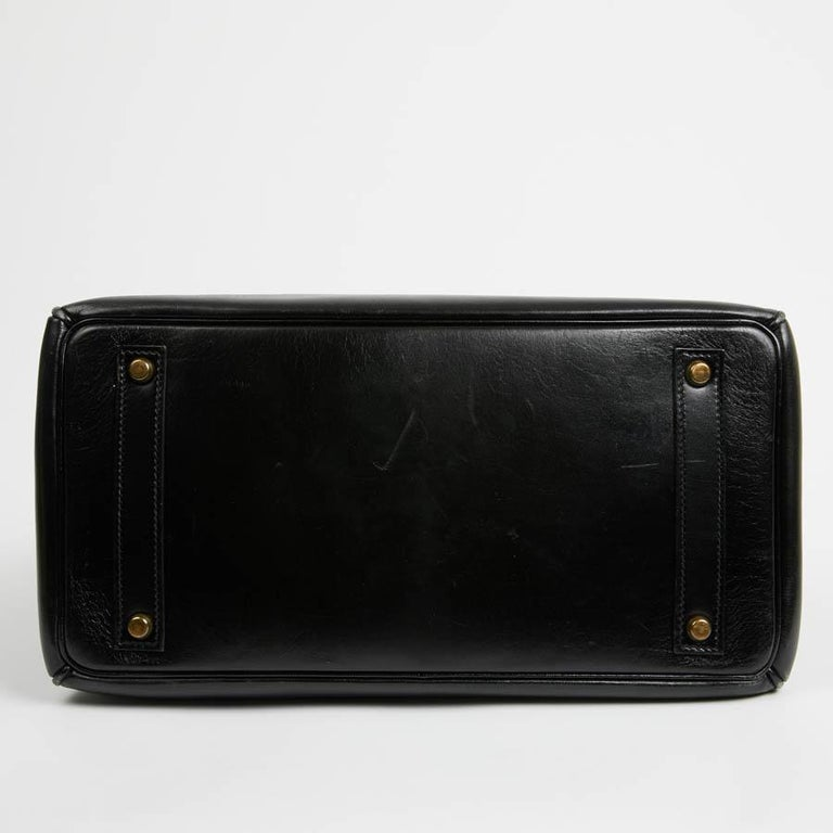 HERMES Vintage HAC 32 Leather Box Bag In Good Condition In Paris, FR
