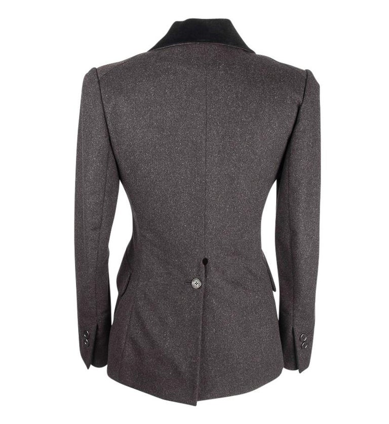 Hermes Vintage Jacket Charcoal Cashmere Velvet Collar  Rear Keyhole Vent  38   For Sale 5