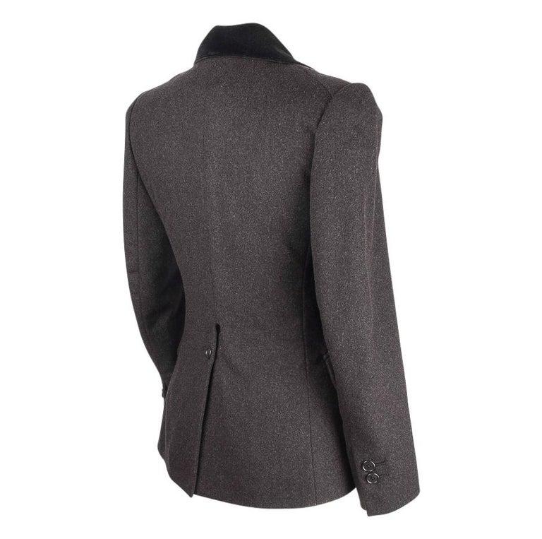 Hermes Vintage Jacket Charcoal Cashmere Velvet Collar  Rear Keyhole Vent  38   For Sale 6