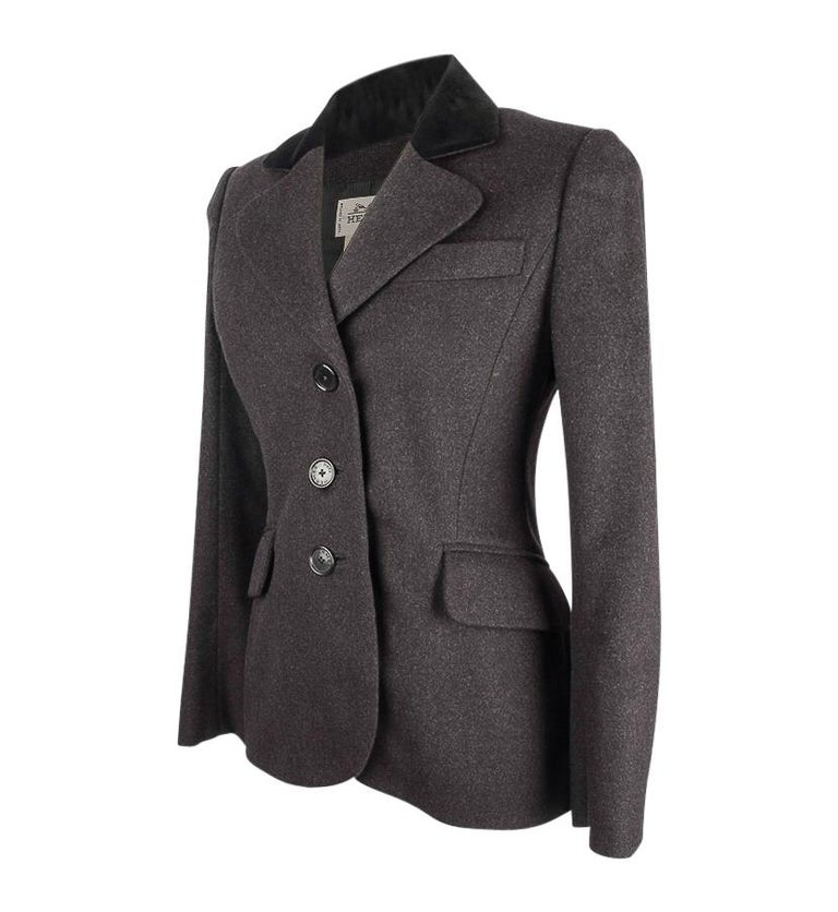 Guaranteed authentic Hermes 3 button single breast vintage rich charcoal gray jacket with beautiful shaping.   Black velvet collar. 2 flap pockets and 1 breast pocket. Rear has a unique vent with single working button and keyhole. Beautifully shaped