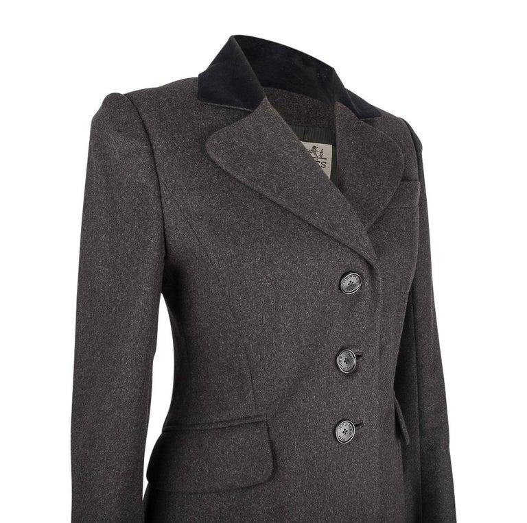 Women's Hermes Vintage Jacket Charcoal Cashmere Velvet Collar  Rear Keyhole Vent  38   For Sale