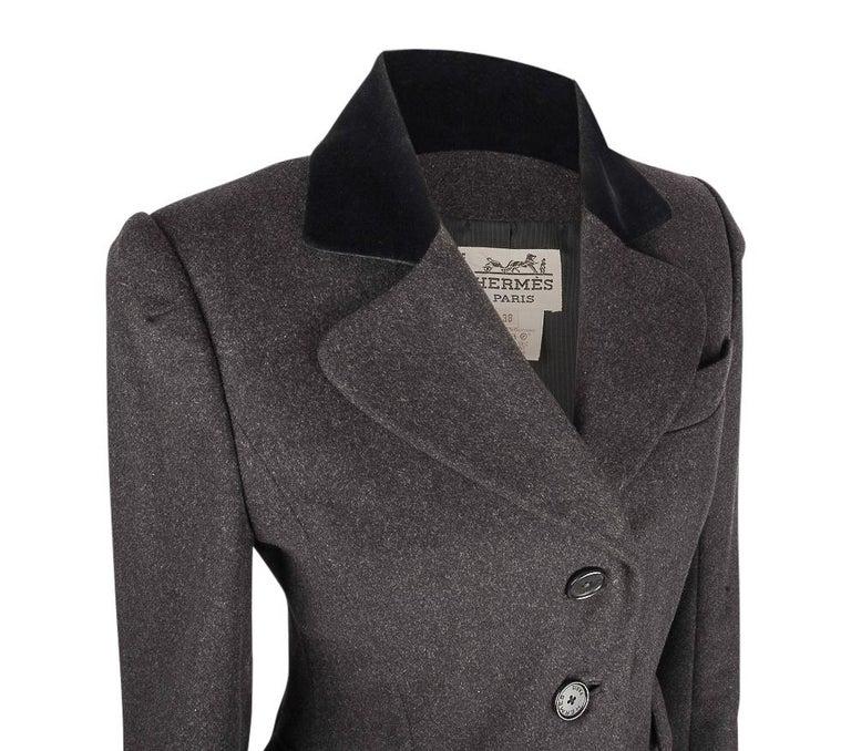 Hermes Vintage Jacket Charcoal Cashmere Velvet Collar  Rear Keyhole Vent  38   For Sale 1