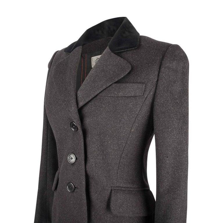 Hermes Vintage Jacket Charcoal Cashmere Velvet Collar  Rear Keyhole Vent  38   For Sale 2