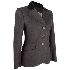 Hermes Vintage Jacket Charcoal Cashmere Velvet Collar  Rear Keyhole Vent  38