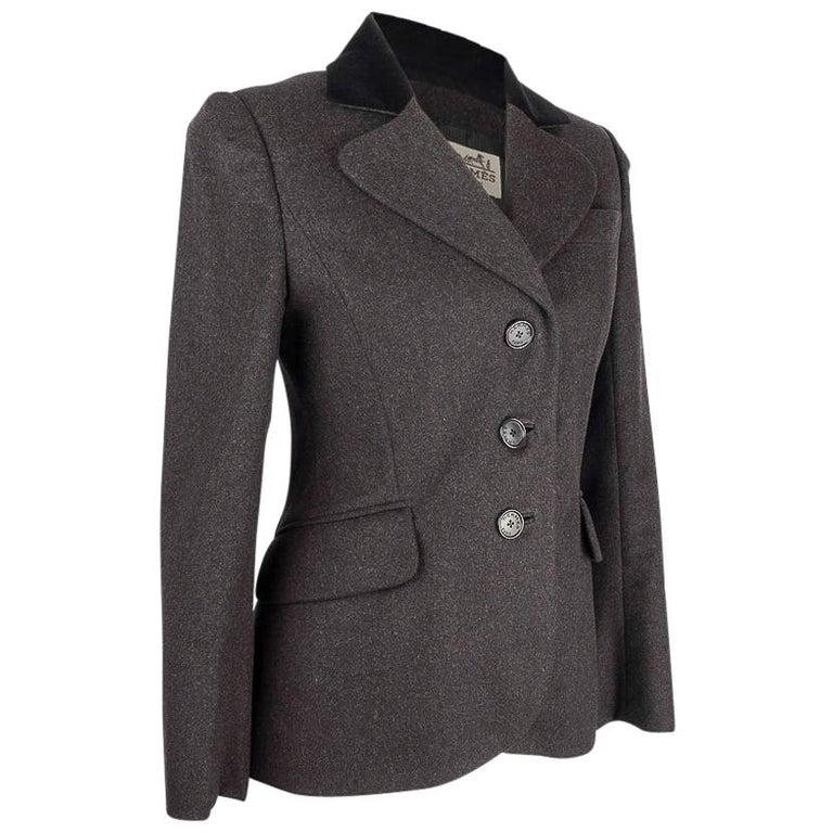 Hermes Vintage Jacket Charcoal Cashmere Velvet Collar  Rear Keyhole Vent  38   For Sale