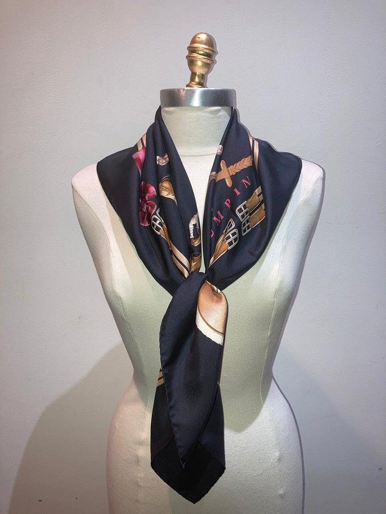 Black Hermes Vintage Jumping Silk Scarf c1970s For Sale