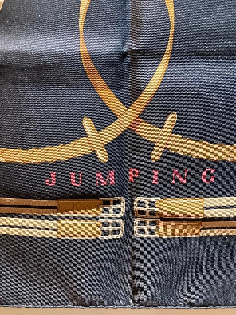 Women's or Men's Hermes Vintage Jumping Silk Scarf c1970s For Sale