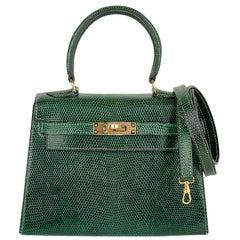 Hermes Vintage Kelly 20 Sellier Mini Vert Moyen Lizard Gold Hardware