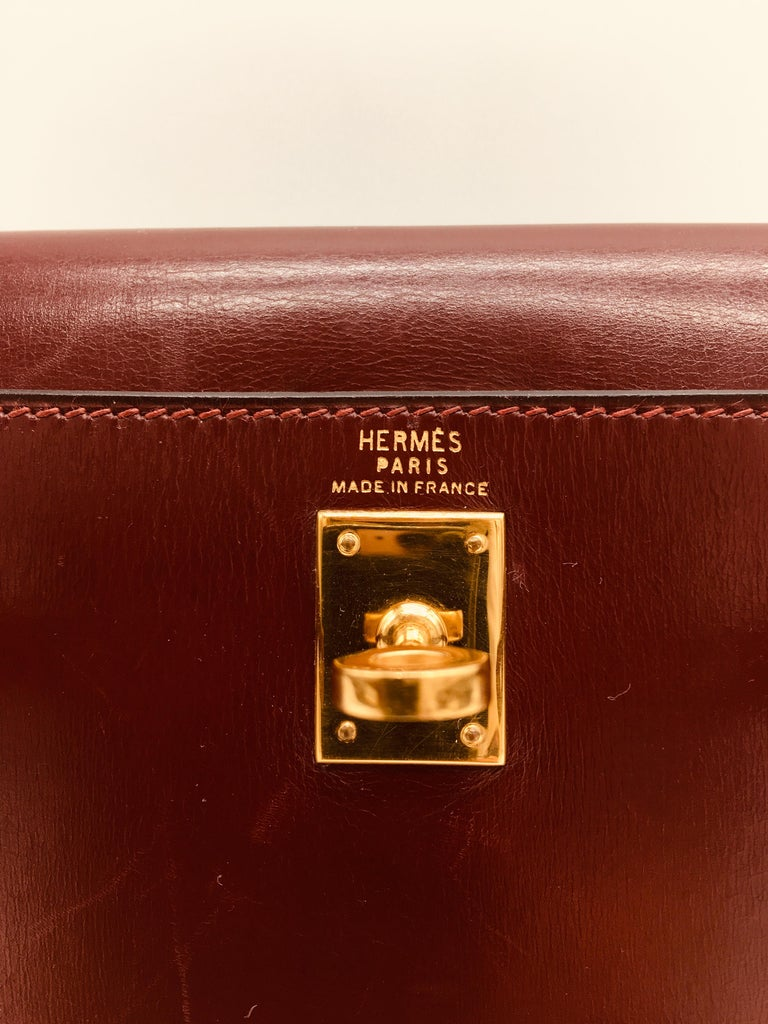 Brown Hermes vintage Kelly 20cm Rouge H in Box leather For Sale