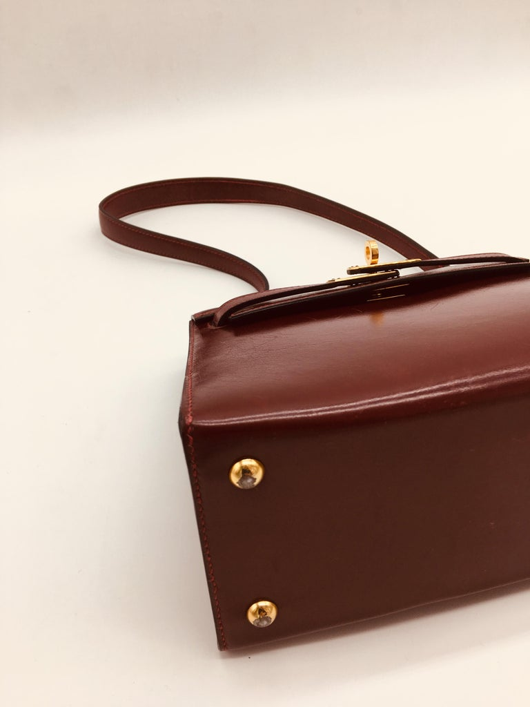 Hermes vintage Kelly 20cm Rouge H in Box leather For Sale 2