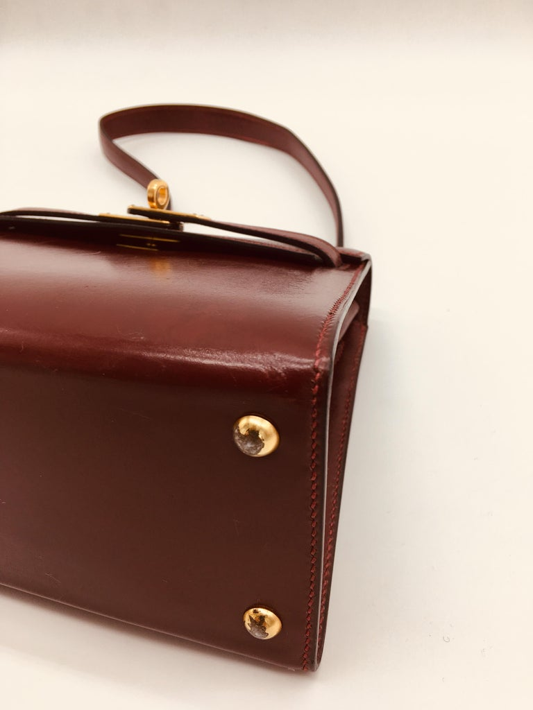 Hermes vintage Kelly 20cm Rouge H in Box leather For Sale 3
