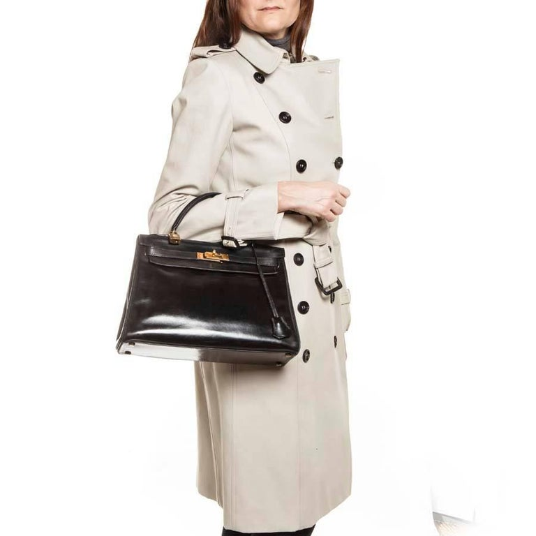 HERMES Vintage Kelly 32 Bag in Black Box Leather For Sale 6