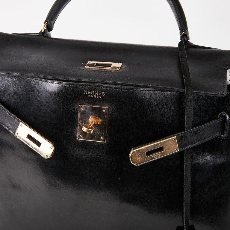 HERMES Vintage Kelly 32 Bag in Black Box Leather 6