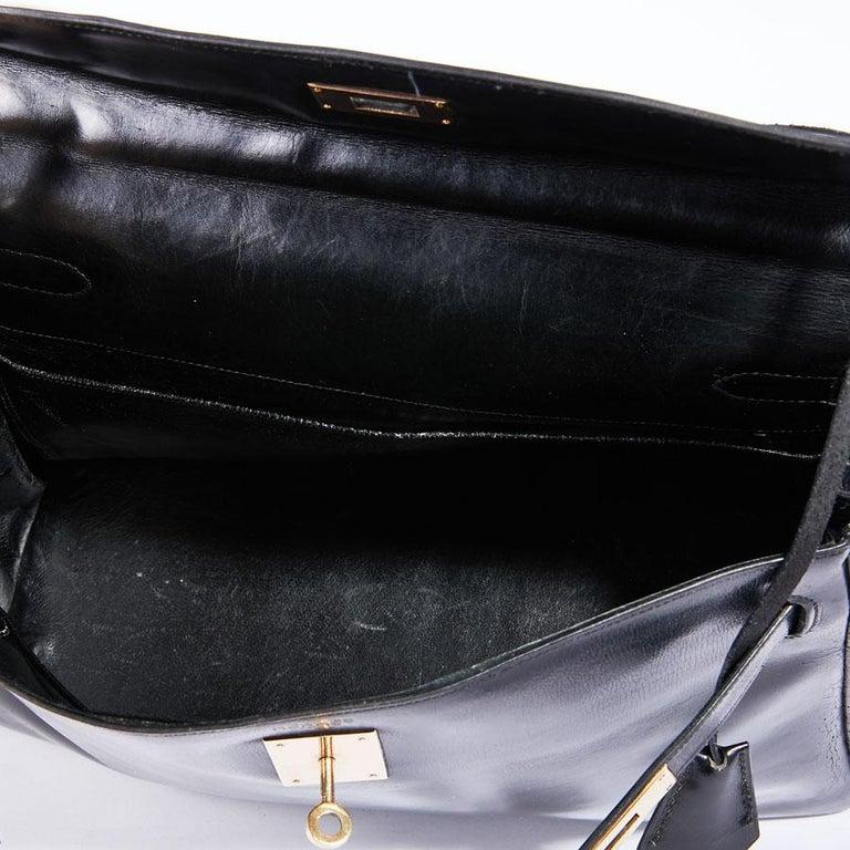 HERMES Vintage Kelly 32 Bag in Black Box Leather 7