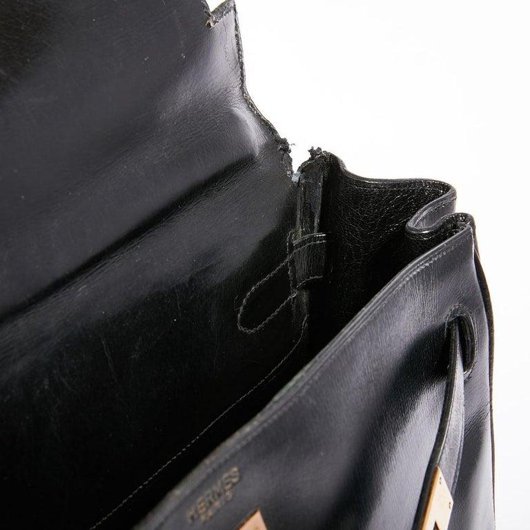 HERMES Vintage Kelly 32 Bag in Black Box Leather 8
