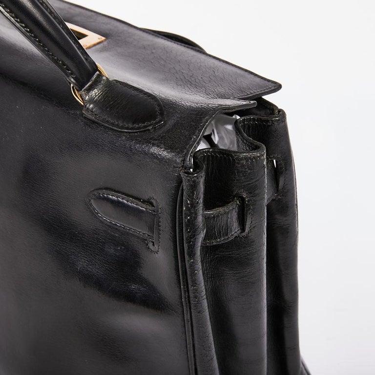 HERMES Vintage Kelly 32 Bag in Black Box Leather 9