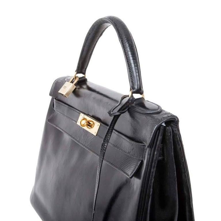 Women's HERMES Vintage Kelly 32 Bag in Black Box Leather For Sale