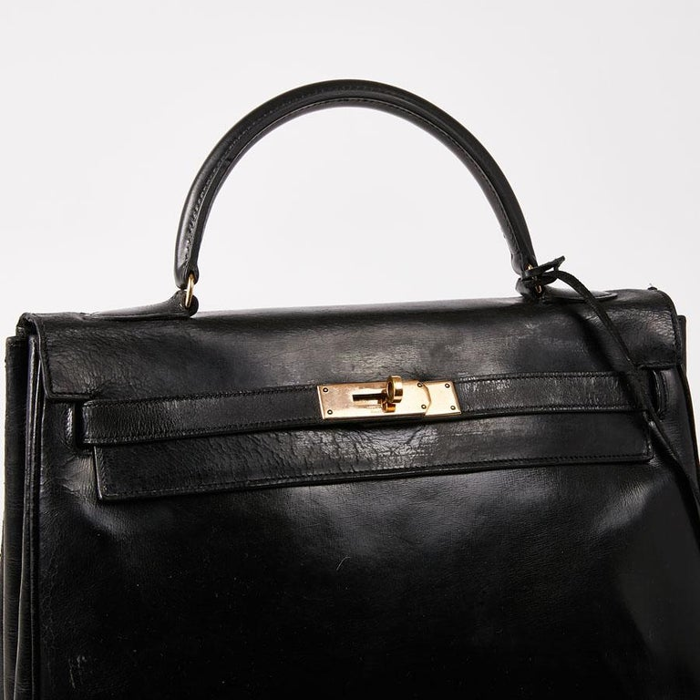 Women's HERMES Vintage Kelly 32 Bag in Black Box Leather