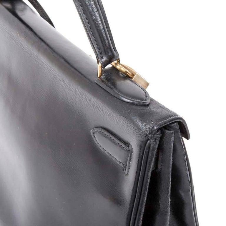 HERMES Vintage Kelly 32 Bag in Black Box Leather For Sale 1