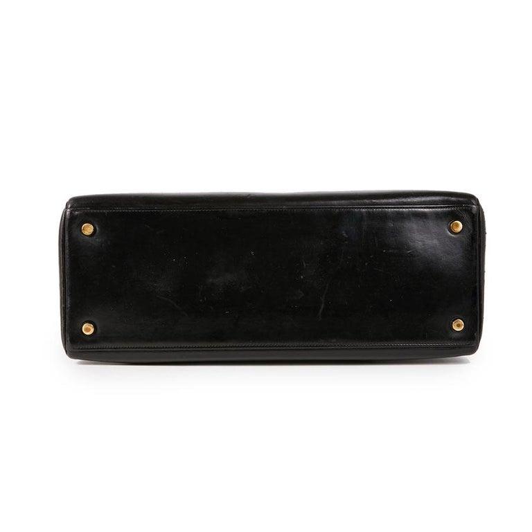 HERMES Vintage Kelly 32 Bag in Black Box Leather 1